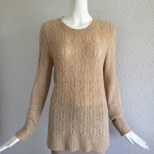 Theory camel crew neck sweater